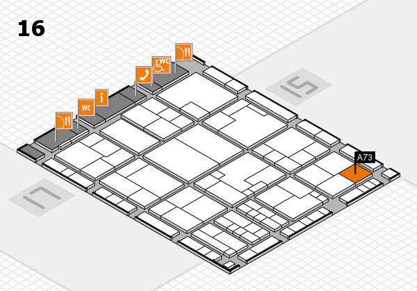 K 2016 hall map (Hall 16): stand A73