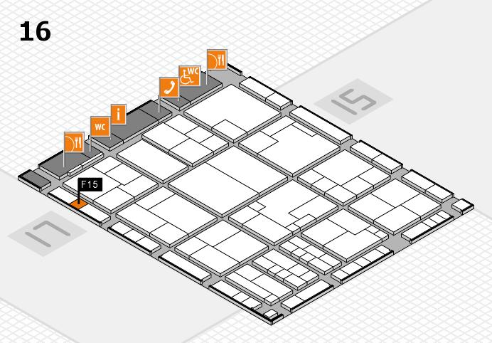 K 2016 hall map (Hall 16): stand F15