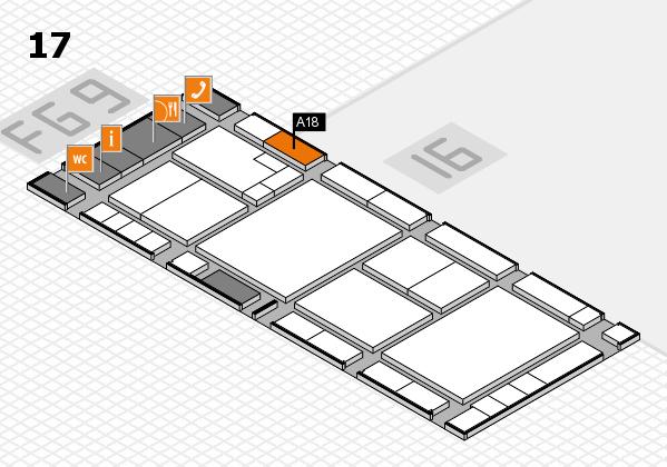 K 2016 hall map (Hall 17): stand A18