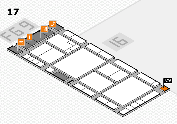 K 2016 hall map (Hall 17): stand A76