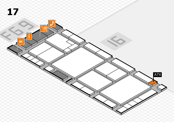 K 2016 hall map (Hall 17): stand A74