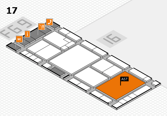 K 2016 hall map (Hall 17): stand A57