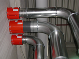 Duct system with fire protection penetration seal