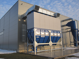 Filter plant with explosion venting and return air system