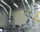 Ventilators and duct system with switch-over elements for sorting