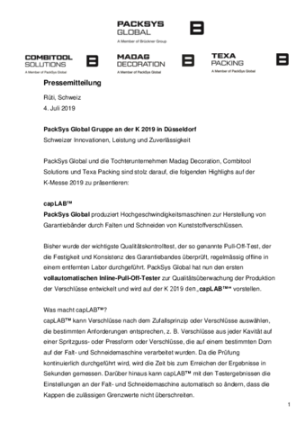 Pressemitteilung PackSys Global K2019