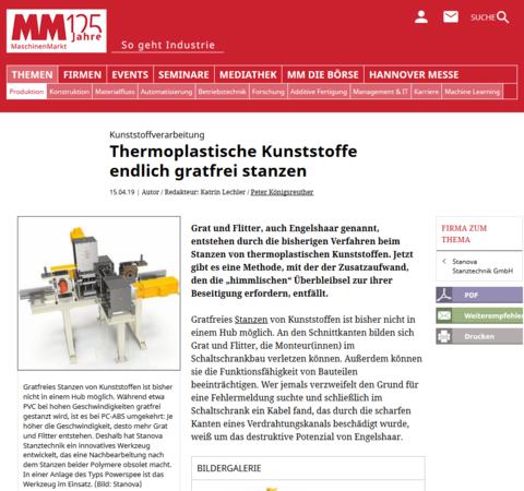 titelbild MaschinenMarkt gratfreies Stanzen von Kunststoffen
