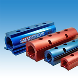 Red and blue anodized aluminium manifolds